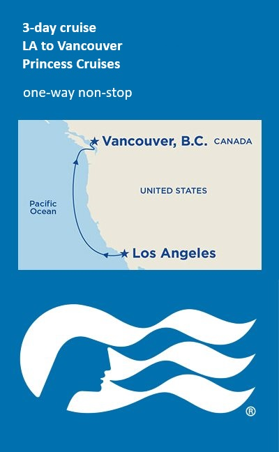 map of 3 day cruise to Canada