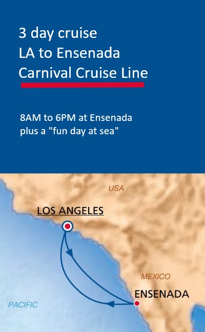 map of 3 day cruise to Mexico